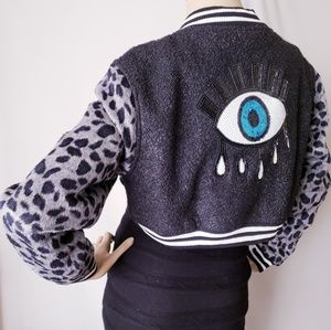 Denimland Sequin Eye Cheetah Cropped Varsity Jackt